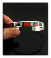 Sterling Silver Cuff Bracelet with Inlaid Gemstones