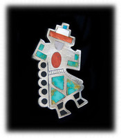Beautiful Zuni Rainbow Man Inlay Turquoise Pin