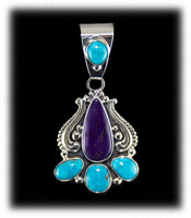 Morenci Turquoise Pendant with Sugilite
