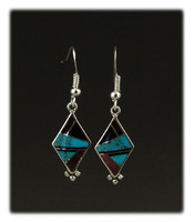 Black Onyx Inlay Dangle Earrings with Multi Gemstone Inlay