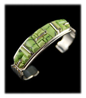 Lime Green Turquoise Inlay Bracelet