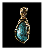 Petite Blue Wind Turquoise Gold Pendant