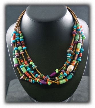 and bead authentic navajo trade necklace silver american treasure new six strand native necklaces