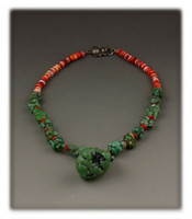 Green Turquoise Nugget Bead Necklace