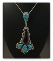Turquoise and Sugilite Statement Pendant