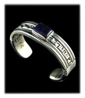 Greek Key Sugilite Cuff Bracelet