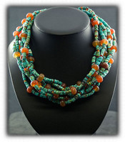 Blue Diamond Turquoise and Carnelian Bead Necklace and Earring Set