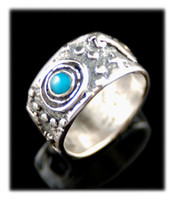 Bisbee Turquoise Band Ring With Rock Art