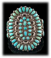 A large Vintage Navajo Turquoise Cluster Bracelet