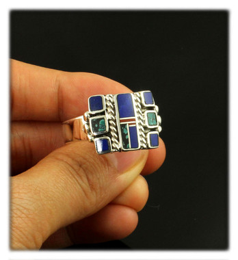 Lapis and Turquoise Inlay ring