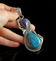 Sugilite and Egyptian Turquoise Pendant