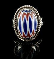 Chevron Trade Bead Sterling Silver Ring