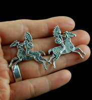 Running Horse and Indian Chief Post Earrings