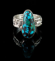 Rock Art Band Ring with Spider Web Turquoise