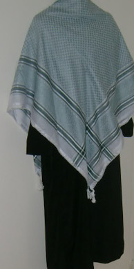 Silver Stripe with Tassels Shemagh Scarf