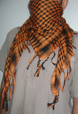 Orange with Tassels Shemagh Scarf