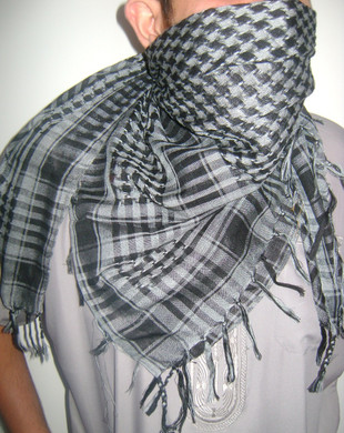 Gray with Tassels Shemagh Scarf