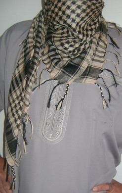 Beige with Tassels Shemagfh Scarf
