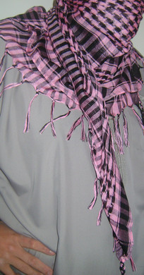 Hot Pink with Tassels Shemagh Scarf