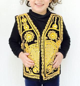Gold Black Bolero Boys Fancy Kameez Eid Party Pakistani Wedding Waistcoat