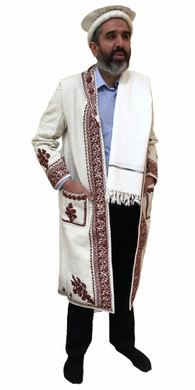 Hand Made Afghan Chitral Over Coat Winter Chugha Pakol Patu Mens White Wool Kashmir Chugah Shawl Pakol Long …