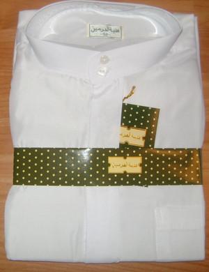 Saudi White Long Arabic Thobe Shirt for Men with Long Sleeves
