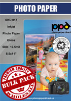 "Inkjet Premium Photo Paper Glossy 68lb. 255gsm 10.5mil 8.5 x 11"" Bulk Wholesale Pack"