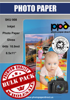 "Inkjet Heavyweight Photo Paper Glossy 64lb. 240gsm 10.9mil 8.5 x 11"" Bulk Wholesale Pack"