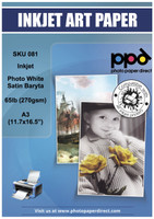 Inkjet Photo White Satin 'Baryta' Paper 65lb (270gsm) A3 (11.7 x 16.5 inch)