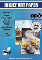 PPD Inkjet Photo Paper Canvas Textured Gloss 64lb. 10.9mil (260gsm) A3 (11.7 x 16.5 inch)