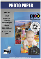 """PPD Inkjet Premium Archival Photo Paper Glossy 69lb. 260gsm 10.6mil 8.27 x 11.69"""" (A4)"""