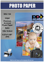 "PPD Inkjet Premium Archival Photo Paper Satin 72lb. 280gsm 10.8mil 8.27 x 11.69"" (A4)"