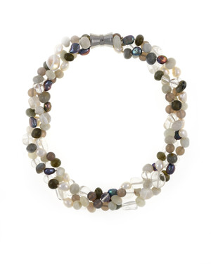 Pearl Necklace Accented with Stones, Boulder Brook Triple strand, white and charcoal freshwater potato pearls 8-9mm, crystal quartz, moonstone, agate, and jade on individually hand-knotted natural silk with rare earth mixed metal magnetic clasp.