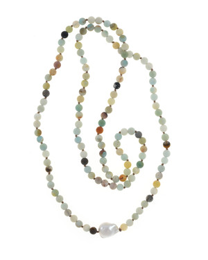 Single strand pearl and gemstone necklace, single white freshwater biawa pearl 12-16mm, multi-colored untumbled amazonite 6mm, on individually hand-knotted natural colored silk