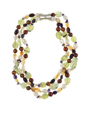Pearl Necklace Accented with Stones, Cascadia is a Triple strand, white freshwater potato pearls 9-11mm, round brown freshwater pearls 9-10mm, with peridot, citrine, & amethyst stones, individually hand-knotted on natural silk with rare earth mixed metal magnetic clasp