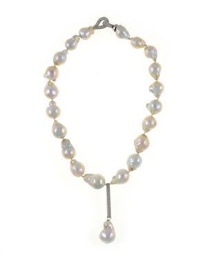 "Denali - Pearl Necklace, Single strand freshwater white biawa pearls 13-15mm, exceptional lustre, pendant is 1.25"" sterling silver set with CZs suspending a biawa pearl 17mm. Locking hook clasp set with CZs, individually hand-knotted on white silk, 17"" in length, pendant drop and biawa pearl adds approximately 2.5"" to overall length."