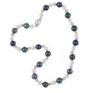 Geneva Pearl Necklace: Exceptional quality single strand, white freshwater pearls 7.5-8.5mm, black laser dyed freshwater pearls 10.5-11.5mm, set with silver Swarovski crystal studded beads 6mm, and shell pearl safety clasp 12mm, also set with CZ's on individually hand knotted natural silk