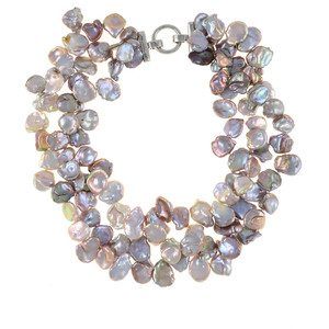 Lavender Fields Provence Pearl Necklace: Exceptional triple strand extra-large, 12-13mm natural color, lavender keshi pearls, on individually hand-knotted natural silk with silver color locking buckle clasp
