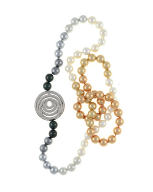 """Pennsylvania Avenue pearl necklace: Single strand ombre mix of gold, white, silver, and black shell pearls 12mm, CZ enhanced geometric pendant accent in mixed metal, on individually hand-knotted natural silk, 40"""" in length (lariat length)"""