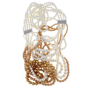 "Potala Palace Pearl necklace: Magnificent 5 strands transitioning into 10 strands, exceptional white and gold shell pearls 4-10mm, 5 bar CZ enhanced mixed metal spacer,  28"" transitioning to 36"" in length (lariat style draped necklace)"