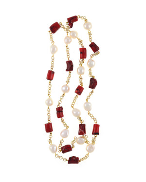"Tibet II Pearl Necklace Accented with Stones: Single strand 11-12mm white freshwater potato  pearls, mixed with dyed red coral, on mixed metal gold-tone chain, 40"" in length (rope length)"