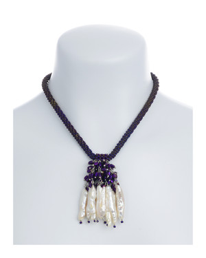 "The Luray Treasury* Pearl Necklace on model in Amethyst necklace:Hand-woven amethyst matte hematite bead necklace with 8 dangling tooth freshwater pearls and matching polished hematite beads, with rare earth mixed metal magnetic clasp, 17"" length with 2.5"" tooth pearl drop."