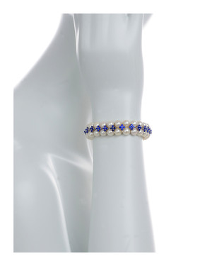 on model, Monaco Pearl Bracelet: Double strand white freshwater pearls 7-8mm, separated by stainless steel and royal blue colored CZ spacers on elastic, one size.