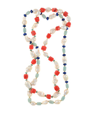 "2 necklaces, Half Moon Bay in coral and Grace Bay in amazonite, Single strand white 11-13mm biawa pearls,rectangular dyed coral beads with turquoise and gold accents beads, on individually hand-knotted natural silk, 28"" in length"