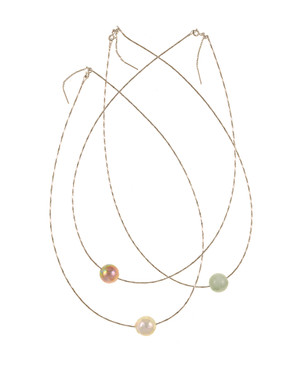 "South Beach Pearl Necklace, Freshwater Pearls and Jade ball necklace: Large white and natural pink Edison freshwater pearls and jade baubles, 12-14mm on Sterling silver finely woven chain, spring ring clasp with threader, 21"" in length. All three beads included."