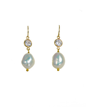 Rudas - Pearl Earrings, white freshwater pearls and CZ delicately dangling from a gold over sterling silver shepherd hook