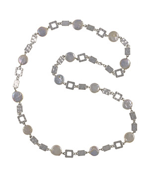 "Polignano a mare - Pearl Necklace,  Shown silver-tone,  Pearl necklace composed of white freshwater coin pearls, 14mm, interspersed with mixed metal geometric window-shaped silver-toned links, Lobster claw clasp, 30"" in length (rope or lariat length), Can be worn wrapped into a choker style (16"")"