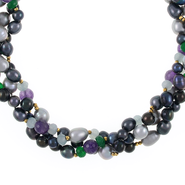 Andora - Pearl Necklace Accented with Stones Zoom: Triple strand, silver and black colored round freshwater pearls 7-9mm, rice pearls 9-11mm, jade beads, amethyst beads, gold glass accent beads,   hand-knotted on dark gray silk with rare earth mixed metal magnetic clasp