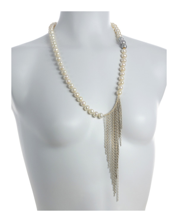 """Avalon Pearl Necklace Shown on model - Single strand white freshwater pearls 10mm, with three silver baroque pearls 11-12mm, interspersed with gold colored accents and white gold-washed colored chain (7""""), pearls individually hand-knotted on natural silk,  26"""" in length."""