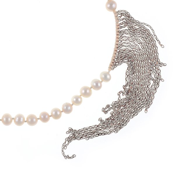 "Avalon Pearl Necklace Zoom: Single strand white freshwater pearls 10mm, with three silver baroque pearls 11-12mm, interspersed with gold colored accents and white gold-washed colored chain (7""), pearls individually hand-knotted on natural silk,  26"" in length."